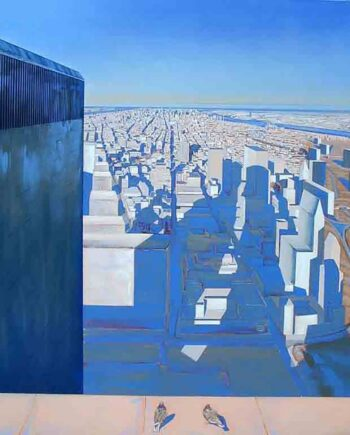 Exploration XI - Oil on Canvas - Manhattan Skyline-WTC by David Vincent Wheeler