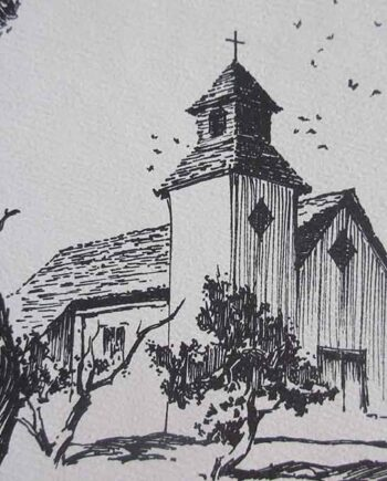 Church Tubac - Lithographic Print on Archival Paper by Hugh Cabot III