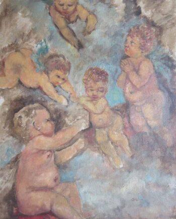 Cherubs Mythological Scene - an Oil on Canvas Board by Jiskje