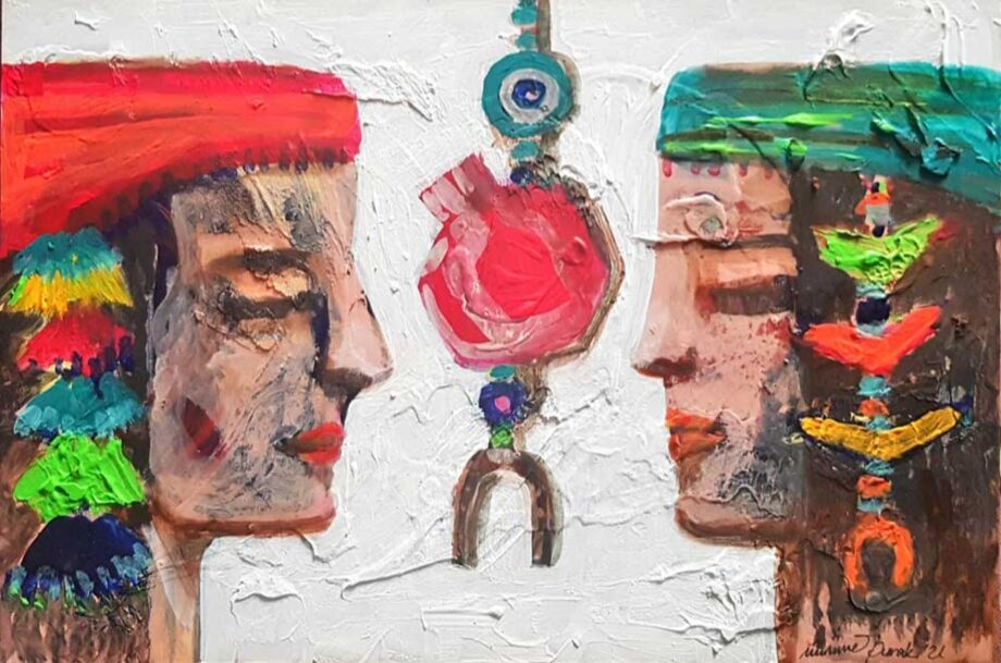 Etnologie a mixed-media painting on wood by noted Turkish artist Muruvvet Durak