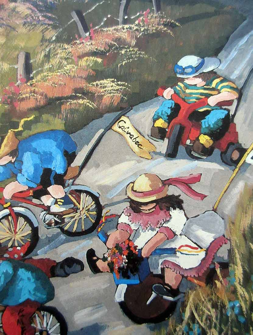 Children Riding Bikes a limited edition lithograph print on cardboard by Pauline T. Paquin