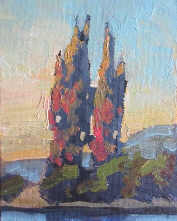 Landscape with Cypress Tree an Oil Painting on Board by William Hawkins