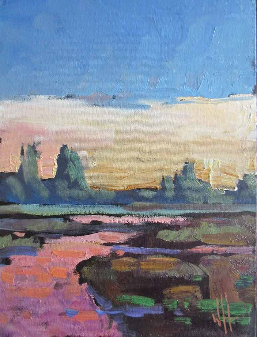 Western Landscape an Oil Painting on Board by William Hawkins