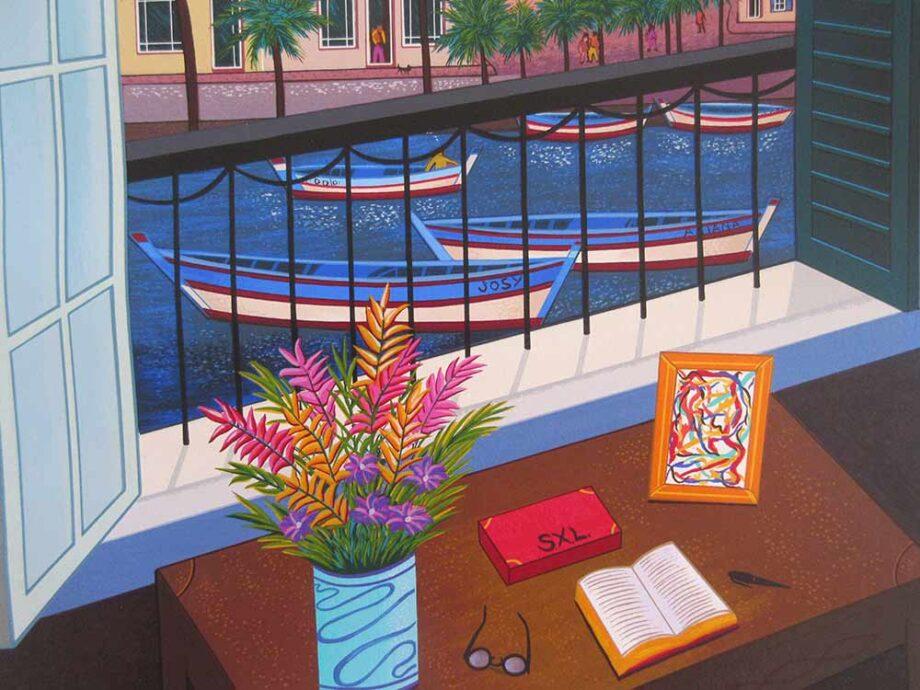 Window on Bonifacio 1998 - a Serigraph print on paper by Fanch Ledan
