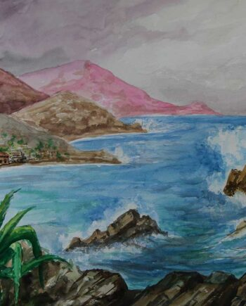 By the Sea a watercolor painting by Greek Artist John Kontakis