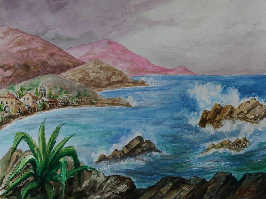 By the Sea a watercolor painting by Greek Artist John Kontakis