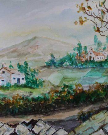 John Kontakis an original watercolor painting - From A Distance (1992)