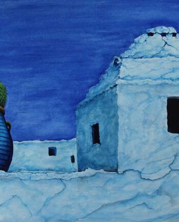 In Crete a watercolor painting by noted Greek artist John Kontakis