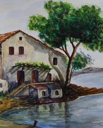 John Kontakis an original watercolor painting - Mansion Of Serenity