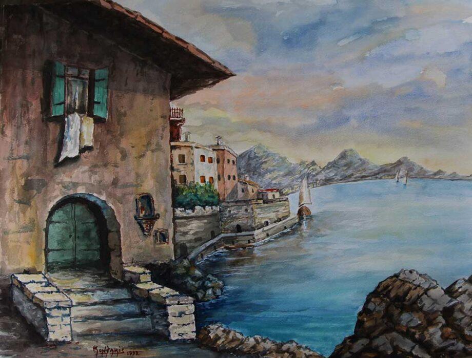 Greek Artist, John Kontakis an original watercolor painting - Steps