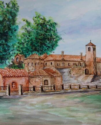 Greek Artist, John Kontakis an original watercolor painting - The Monastery (1992)