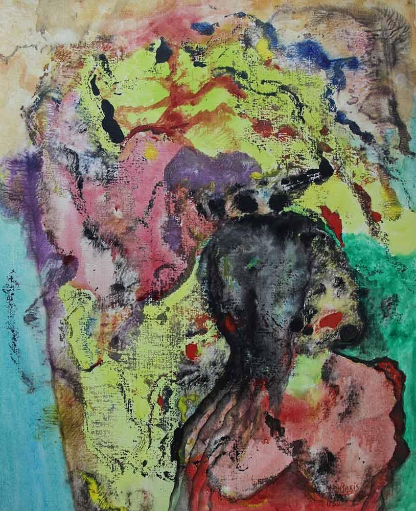 Greek Artist, John Kontakis an original abstract watercolor painting - Wave Of Thoughts III