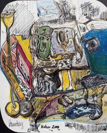 Art in cans an oil pastel on paper by noted German artist Regina Kehrer