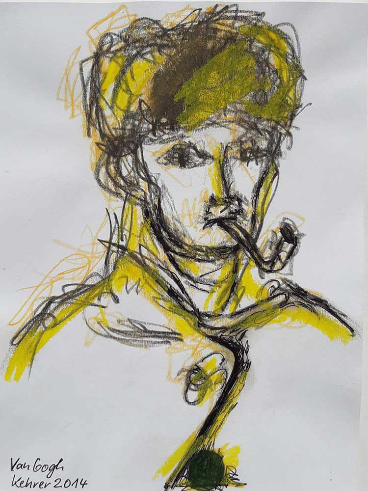 van Gogh with pipe - pencil on paper by noted German artist Regina Kehrer