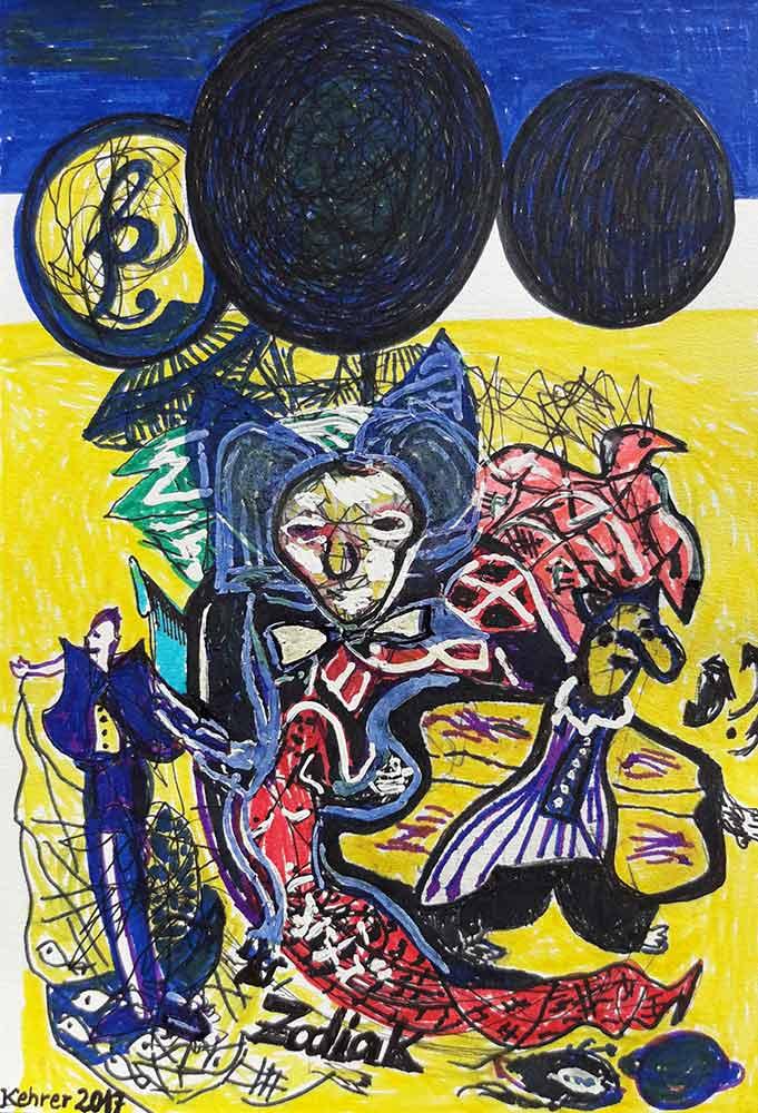 Zodiak-Constellation - pencil on paper by noted German artist Regina Kehrer