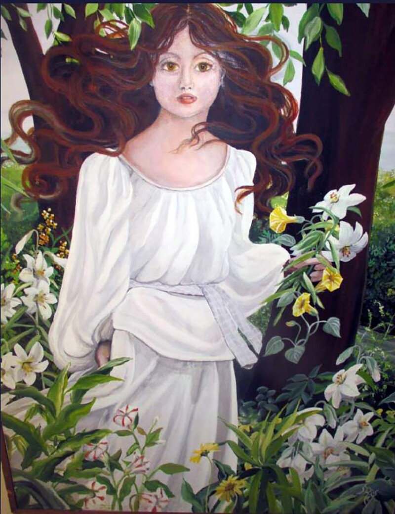 Oil Painting Woman in the Garden by Susan Rios