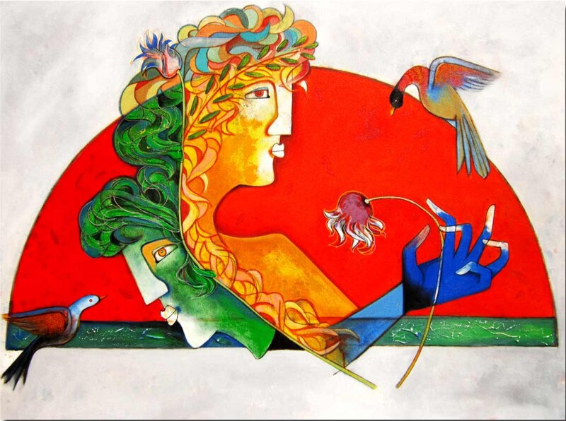 Couple an Acrylic Painting by Rajesh Choudhari